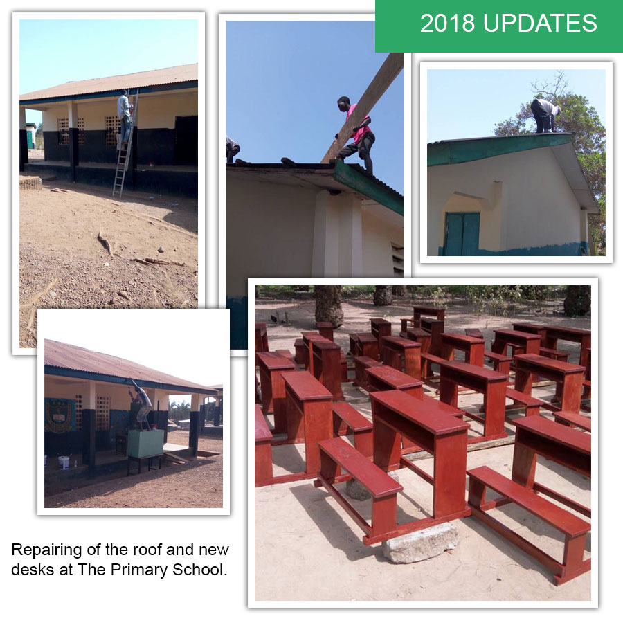 Repairing of the roof and new desks at The Primary School.